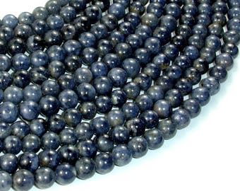 Blue Sapphire Beads, 6mm(5.6mm) Round, 16 Inch, Approx 73-76 beads, Hole 0.8mm (162054001)