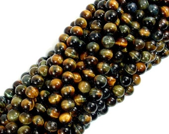 Blue / Yellow Tiger Eye, 6mm Round Beads, 16 Inch, Full strand, Approx 66 beads, Hole 0.8 mm, A- quality (426054024)