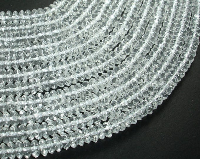 Clear Quartz Beads, Faceted Rondelle, Faceted Saucer, Approx 3x6mm,15.5 Inch, Full strand, Approx 130 beads, Hole 1mm,A+ quality(198024001)