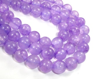 Dyed Jade- Lavender, 10mm Round Beads, 15.5 Inch, Full strand, Approx 40 beads, Hole 1 mm, A quality (211054151)