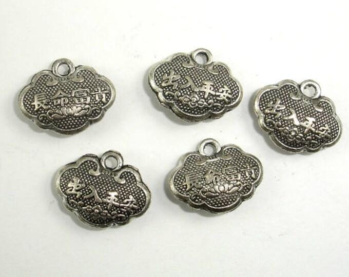 Lock Charms, Zinc Alloy, Antique Silver Tone, 14x11 mm, 20 pcs, Hole 1.6mm (006873077)