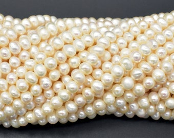 Fresh Water Pearl Beads-White, Potato, Approx 4-5mm, 14 inch, Full strand, Approx 90 beads, Hole 0.5mm (232050052)