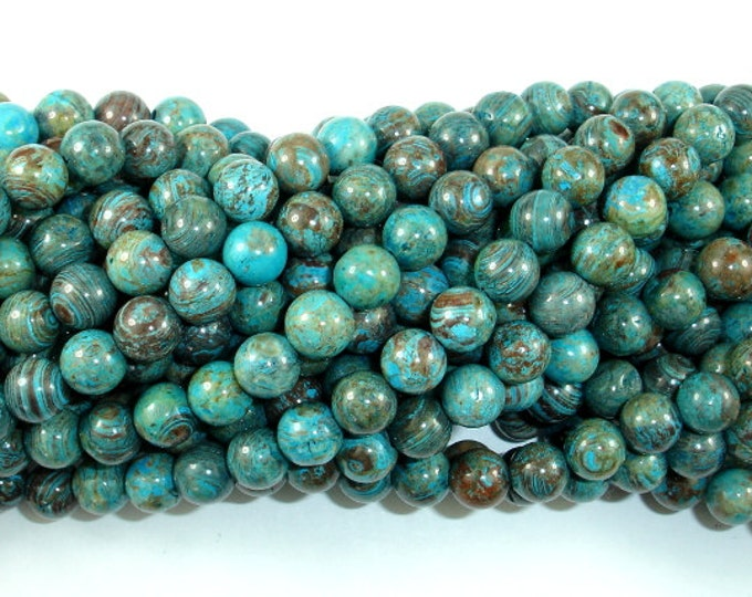 Blue Calsilica Jasper Beads, 8mm(8.4mm) Round Beads, 15.5 Inch, Full strand, Approx 48 beads, Hole 1 mm (496054003)