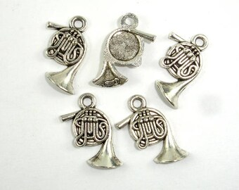 French Horn Charms, Zinc Alloy, Antique Silver Tone, 10x17 mm, 20 pcs, Hole 1.7mm (006873034)
