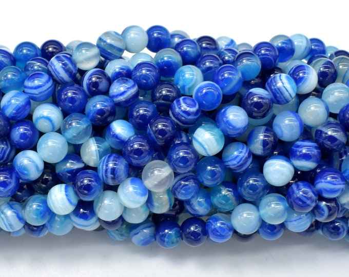 Banded Agate Beads, Striped Agate, Blue, 6mm (6.3mm) Round Beads, 15 Inch, Full strand, Approx 63 beads, Hole 1mm, A quality (132054064)