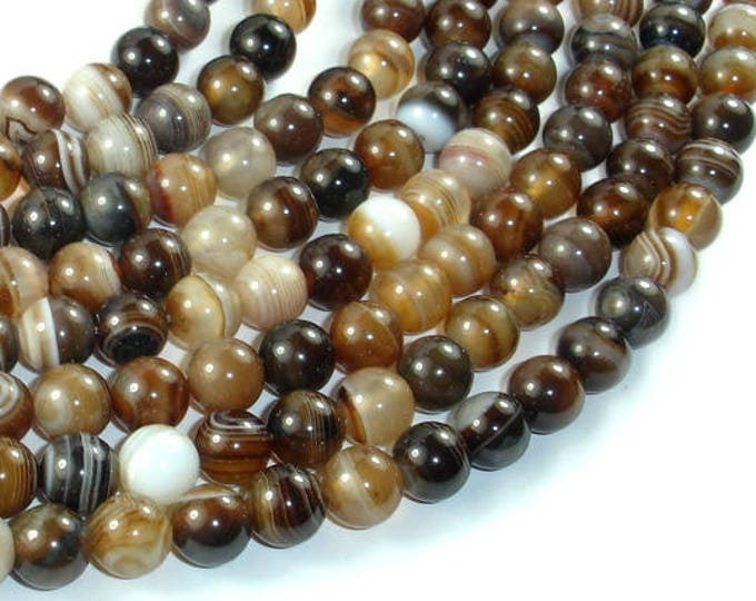 Banded Agate Beads, Brown, 8mm(8.4mm) Round Beads, 15.5 Inch, Full strand, Approx 48 beads, Hole 1mm (132054055)