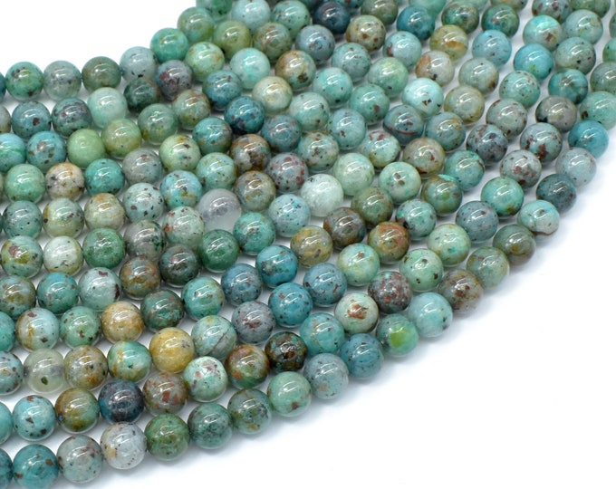 Chrysocolla-Natural , 6mm Round Beads, 16 Inch, Full strand, Approx 68 beads, Hole 0.8mm, A quality (196054019)