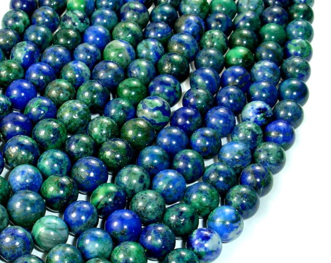 Azurite Malachite Beads, 8mm (8.5 mm) Round Beads, 15.5 Inch, Full strand, Approx 47 beads, Hole 1 mm, A quality (129054005)