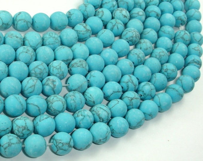 Matte Howlite Turquoise Beads, 8mm Round Beads, 15.5 Inch, Full strand, Approx 48 beads, Hole 1mm, A quality (213054014)