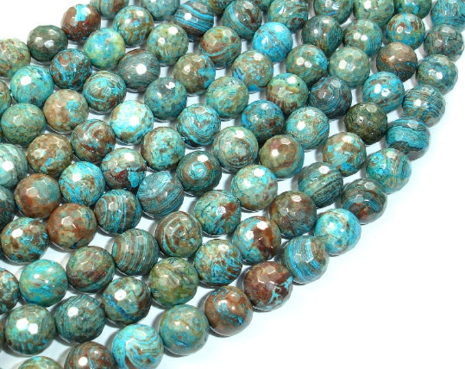 Blue Calsilica Jasper Beads, 8mm Faceted Round Beads, 15.5 Inch, Full strand, Approx 49 beads, Hole 1 mm, A quality (496025002)