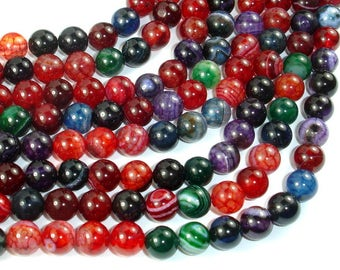Banded Agate Beads, Multi Colored, 8mm Round Beads, 15 Inch, Full strand, Approx 47 beads, Hole 1mm, A quality (132054025)