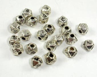 Metal Beads, Faceted Cube Spacer, Zinc Alloy, Antique Silver Tone, 3.5x3.5mm, 100 pcs, Hole 1.3mm (006852087)