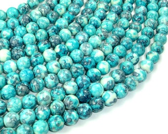 Rain Flower Stone Beads, Blue, 8mm (8.5mm) Round Beads, 15.5 Inch, Full strand, Approx 48 beads, Hole 1 mm, A quality (377054006)