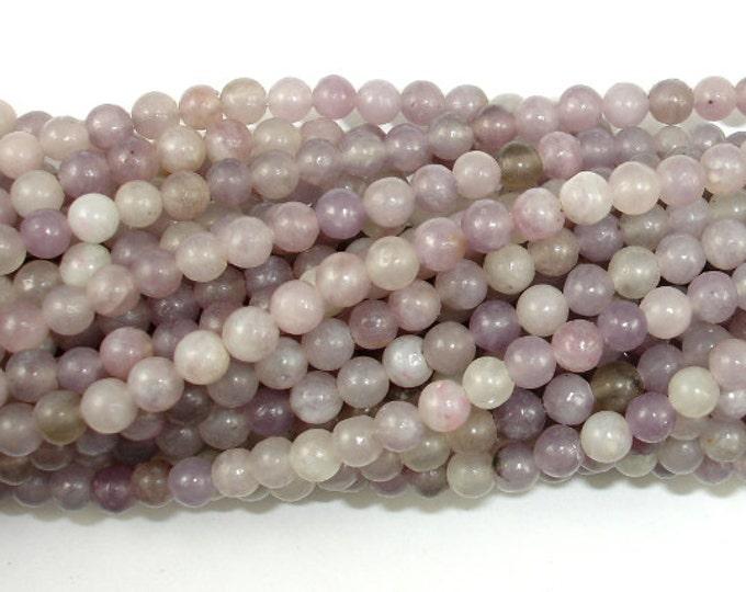 Lilac Jasper Beads, Pink Tourmaline Beads, Round, Approx 4 mm (4.3mm), 16 Inch, Full strand, Approx 96 beads, Hole 0.8 mm (307054010)