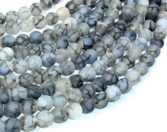 Matte Dragon Vein Agate Beads, Black & White, 8mm Round Beads, 14.5 Inch, Full strand, Approx 47 beads, Hole 1mm (122054281)