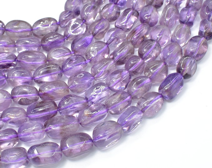 Amethyst, Light Purple, 8x12mm Nugget Beads, 15.5 Inch, Full strand, Approx 33 beads, Hole 1mm (115047021)
