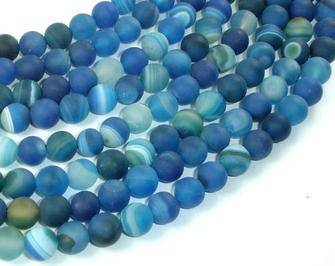 Matte Banded Agate Beads, Blue, 8mm(8.5mm) Round Beads, 15.5 Inch, Full strand, Approx 48 beads, Hole 1mm (132054034)