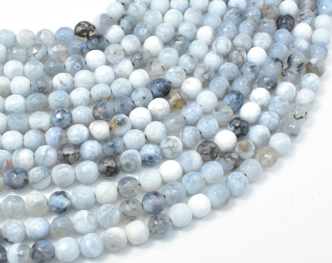 Dragon Vein Agate Beads, Gray & White, 6mm Faceted Round Beads, 14 Inch, Full strand, Approx 59 beads, Hole 1mm (122025291)
