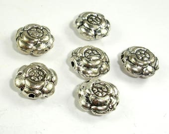Flower Spacer, Flower Beads, Zinc Alloy, Antique Silver Tone, 11x5mm, 20 pcs, Hole 1.2mm (006852016)