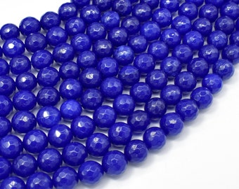 Jade Beads, Blue, 8mm (8.3mm) Faceted Round, 15.5 Inch, Full strand, Approx 48 beads, Hole 1mm, A quality (211025034)