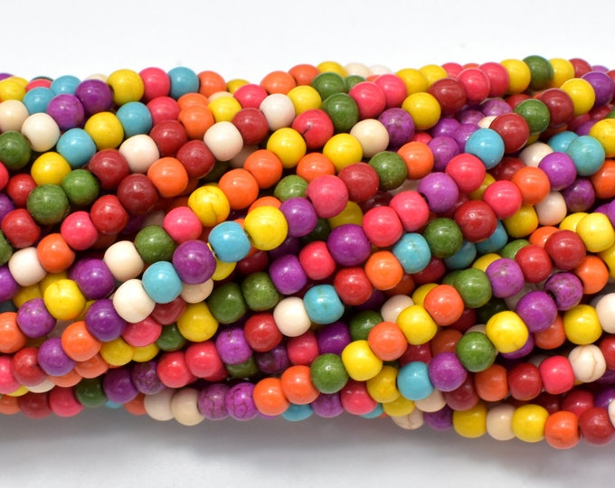 Howlite Beads, Multicolored, 4mm, 15.5 Inch, Full strand, Approx 110 beads, Hole 1mm (275054022)