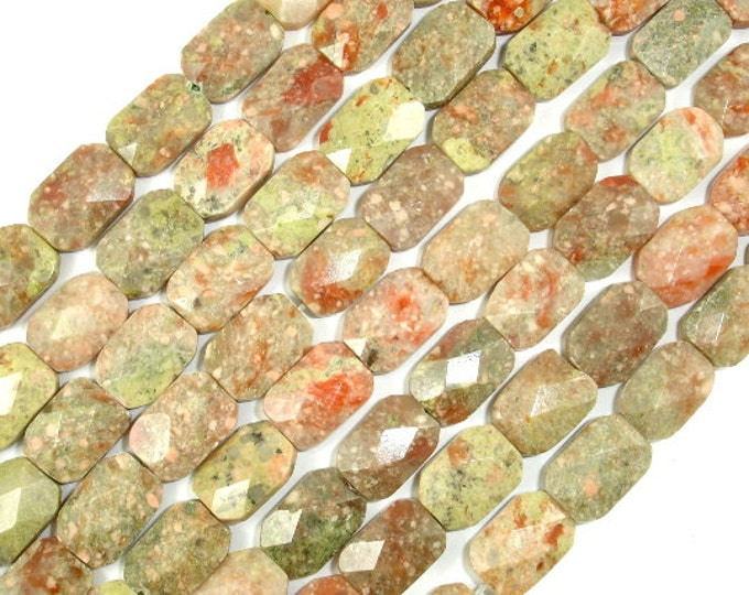 Chinese Unakite Beads, 9 x 13mm Faceted Rectangle Beads, 15.5 Inch, Full strand, Approx 30 beads, Hole 1 mm, A quality (195022001)