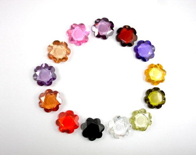 CZ beads, Cubic Zirconia Beads, 15x15mm Faceted Flower Pendant Beads, 1 piece, Hole 1mm, A Grade (FL1515)