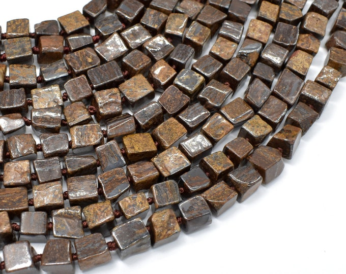 Bronzite Beads, Approx 6.5x6.5x7mm Cube Beads, 17.5 Inch, Full strand, Approx 52 beads, Hole 1mm (174009002)
