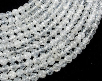 Crackle Clear Quartz Beads, 6mm (6.3mm) Round Beads, 15 Inch, Full strand, Approx 63 beads, Hole 1mm (198054021)