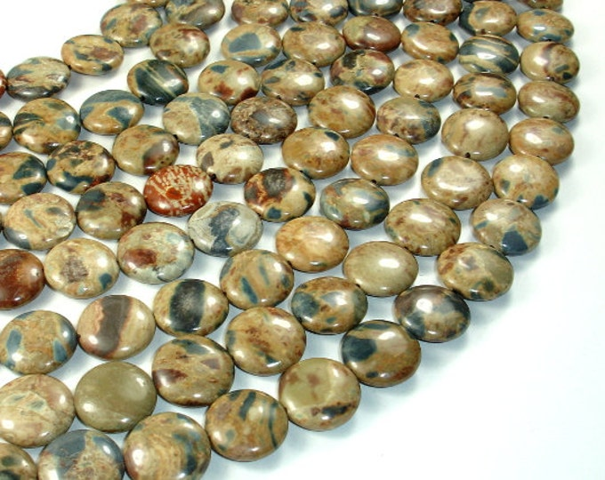 Jasper Beads, Coin, 16 mm, 16 Inch, Full strand, Approx 25 beads, Hole 1 mm (288008003)