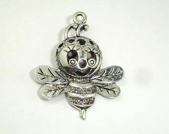 Metal Charms - Honey Bee Pendant, Zinc Alloy, Antique Silver Tone, 29x38mm, 2pcs (006868009)
