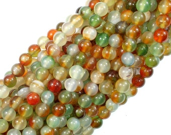 Agate Beads, 6mm Round Beads, 15 Inch, Full strand, Approx 64 beads, Hole 1 mm (122054191)