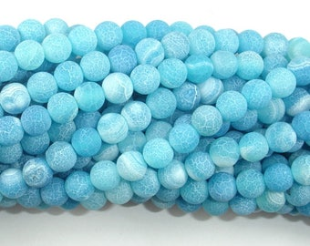Frosted Matte Agate - Sea Blue, 6mm Round Beads, 15 Inch, Full strand, Approx 63 beads, Hole 1 mm (122054199)