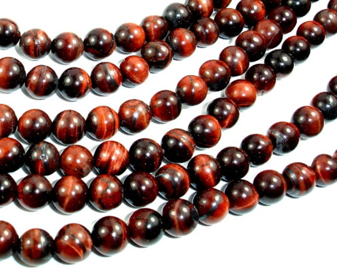 Red Tiger Eye Beads, Round, 6mm (6.5mm), 15 Inch, Full strand, Approx 62 beads, Hole 1mm (383054010)