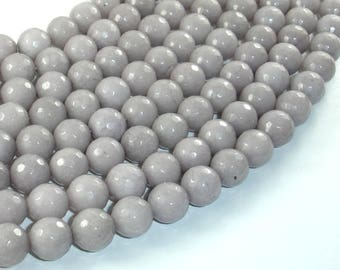 Jade Beads, Light Gray, 10mm(10.3mm) Faceted Round, 15.5 Inch, Full strand, Approx 38 beads, Hole 1mm, A quality (211025029)