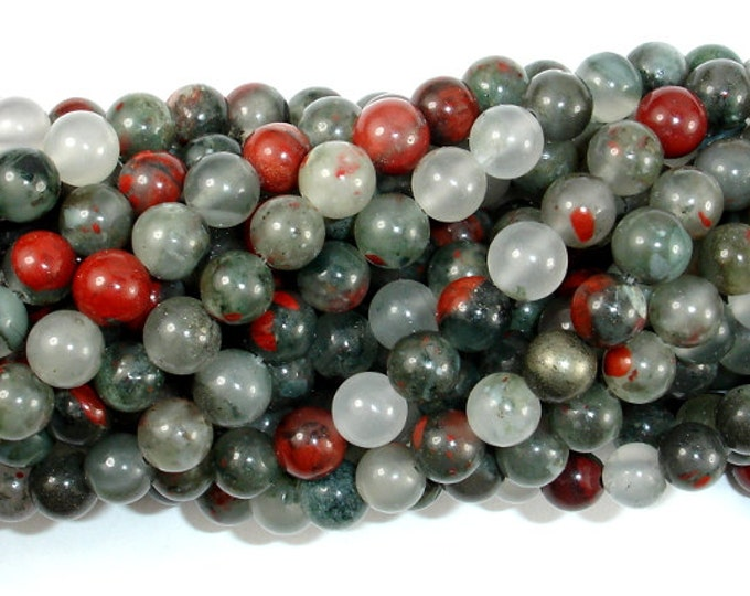 African Bloodstone, 6mm (6.5 mm) Round Beads, 15 Inch, Full strand, Approx 60 beads, Hole 1 mm (124054001)