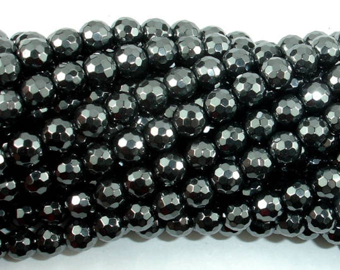 Hematite, 6mm Faceted Round Beads, 15.5 Inch, Full strand, Approx 70 beads, Hole 1mm, A quality (269025002)