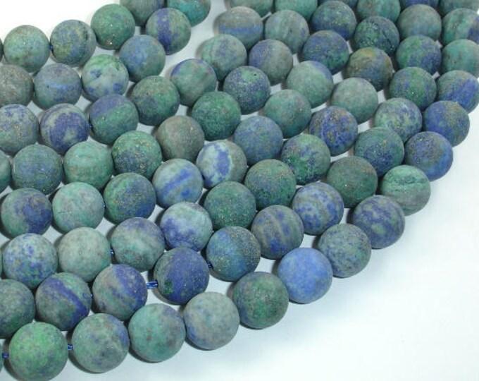 Matte Azurite Malachite Beads, 10mm(10.3mm) Round Beads, 15 Inch, Full strand, Approx 38 beads, Hole 1mm (129054011)