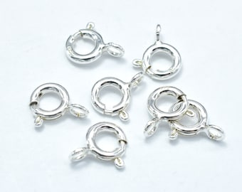 10pcs 925 Sterling Silver Spring Ring, 6mm Round Clasp, with 3mm Ring (007904008)