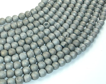 Druzy Agate Beads, Silver Gray Geode Beads, 6mm (6.5 mm) Round Beads, 15.5 Inch, Full strand, Approx 62 beads, Hole 1mm (122054214)