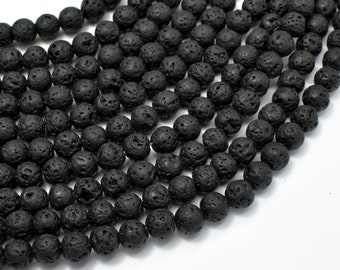 Black Lava Beads, Round, 6mm (6.6mm), 15 Inch, Full strand, Approx 61 beads, Hole 1 mm (300054019)