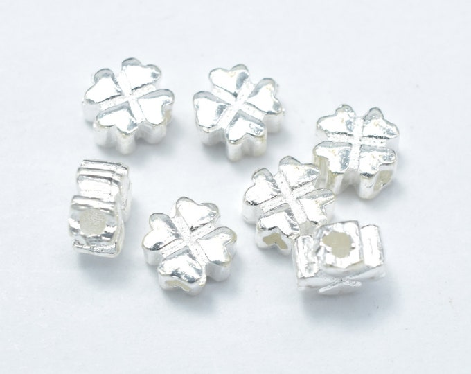 6pcs 925 Sterling Silver Beads-Flower, 5x5mm, Hole 1.4mm (007909004)