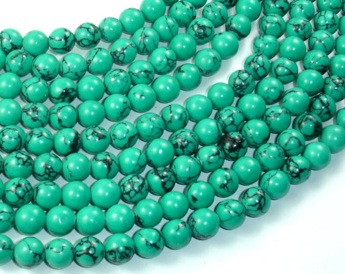 Howlite Turquoise Beads-Green, 8mm Round Beads, 15.5 Inch, Full strand, Approx 50 beads, Hole 1mm, A quality (214054008)