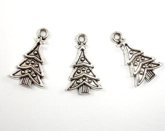 Christmas Tree Charms, Zinc Alloy, Antique Silver Tone, 14x23mm, 10 pcs, Hole 2 mm (006873028)