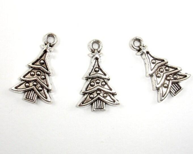 Christmas Tree Charms, Zinc Alloy, Antique Silver Tone, 14x23mm, 10 pcs, Hole 2 mm (006873028)