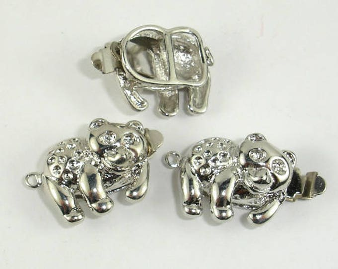 Bear Box Clasps- 1 strand , Rhodium Plated, 18x14mm, 2pcs (006854007)