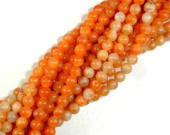 Orange Calcite Beads, Round, 4mm, 16 Inch, Full strand, Approx 100 beads, Hole 0.8 mm (335054002)