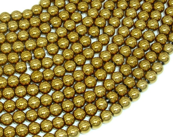 Hematite Beads-Gold, 6mm Round Beads, 16 Inch, Full strand, Approx 71 beads, Hole 1mm, AA quality (269054024)