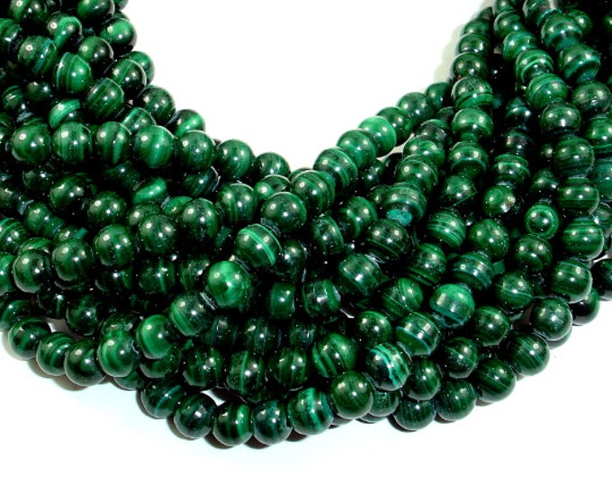 Natural Malachite Beads, 6 mm Round Beads, 15.5 Inch, Full strand, Approx 64-67 beads, Hole 0.8mm, A+ quality (312054006)