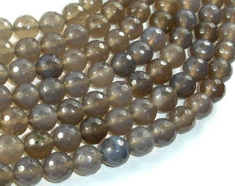 Gray Agate Beads, 10mm(10.3mm) Faceted Round Beads, 15 Inch, Full strand, Approx 38 beads, Hole 1 mm (241025005)